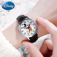 Original Disney Women Quartz Round Watch Authentic Mickey Mouse Cutie Love Fashion Clock Ladies Leather Band Watches Best Gift