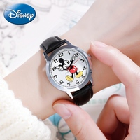 Original Disney Women Quartz Round Watch Authentic Mickey Mouse Cutie Love Fashion Clock Ladies Leather Band Watches Best Gift