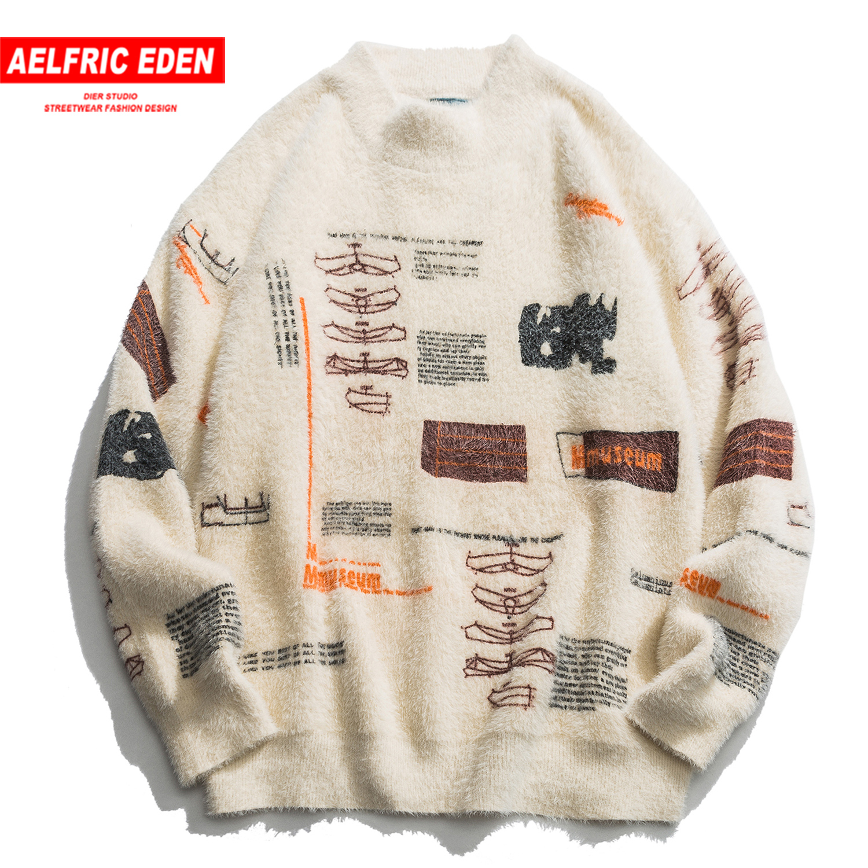 Aelfric Eden Graffiti Knitwear Sweater Men Casual Harajuku Hip Hop Knitted Pullovers Male Tops Long Sleeve Outwear Streetwear