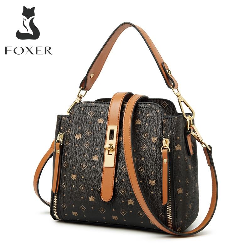 Маленькие сумки FOXER через плечо с надписью, Дамская Ретро Сумочка с монограммой, модная винтажная женская сумка через плечо из ПВХ