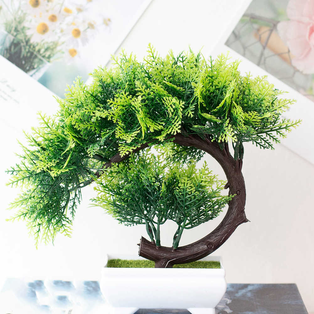 1*Bonsai Simulation Artificial Pot Plant Home Office Fake Pine Tree Decorative