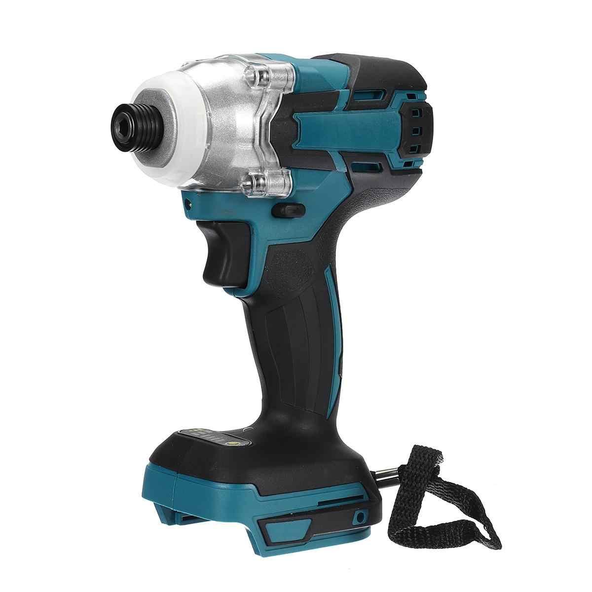 Destornillador eléctrico inalámbrico de 18 V, velocidad sin escobillas, llave de impacto, taladro recargable, luz LED para batería Makita