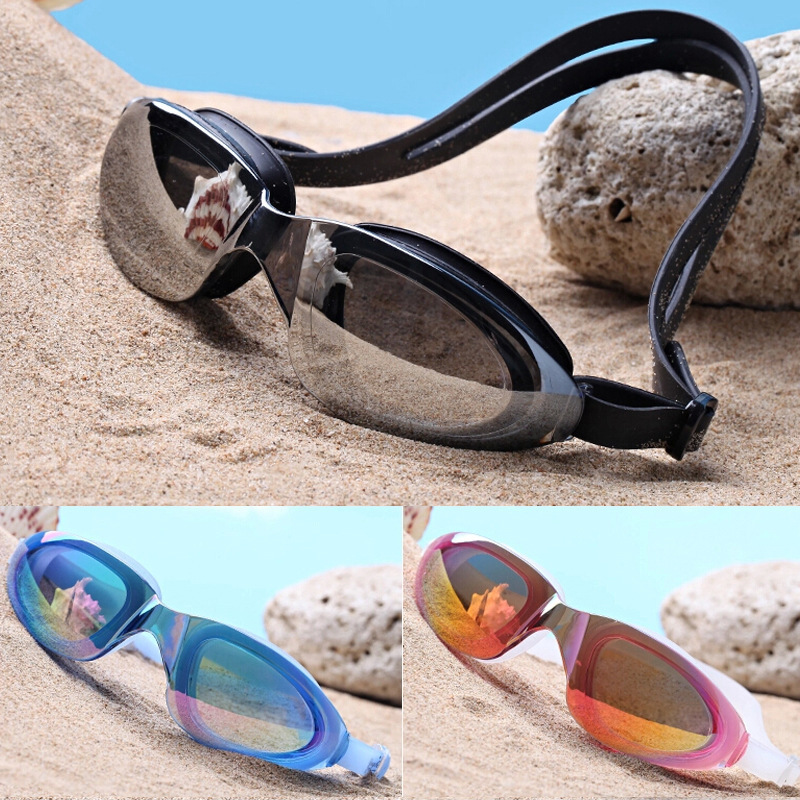 Top Grade Profession Big Box Electroplated Waterproof Anti-fog Swimming Goggles For Both Men And Women Plain Glass Goggles Boxed