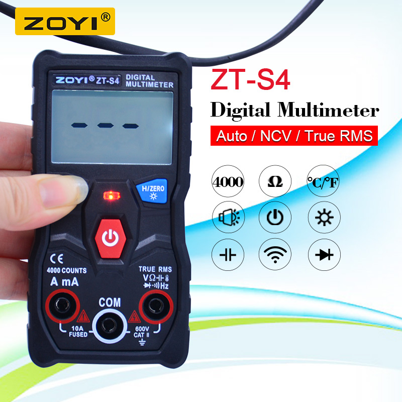 ZT-S4 True RMS  Digital Multimeter 4000 Counts  Autoranging AVO Meter AC DC 600V Voltmeter+NCV Temperature