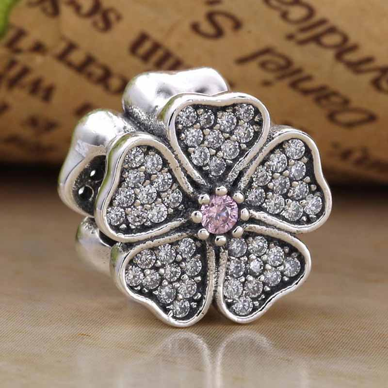 Original Apple Blossom Flower With Crystal Beads Fit 925 Sterling Silver Bead Charm Bracelet Bangle Diy Jewelry
