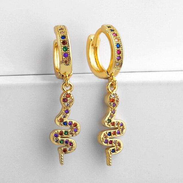 Gold CZ Snake Earrings Gold Cowrie Shell Huggie Earring Aretes De Moda Summer Huggie Jewelry Woman.jpg 640x640 - Gold CZ Snake Earrings Gold Cowrie Shell Huggie Earring Aretes De Moda Summer Huggie Jewelry Woman Cheap Earrings Punk