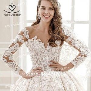 Image 3 - 高級ビーズ王女のウェディングドレス swanskirt SZ01 長袖ボールガウンアップリケレースの花嫁衣装イリュージョン vestido デ · ノビア