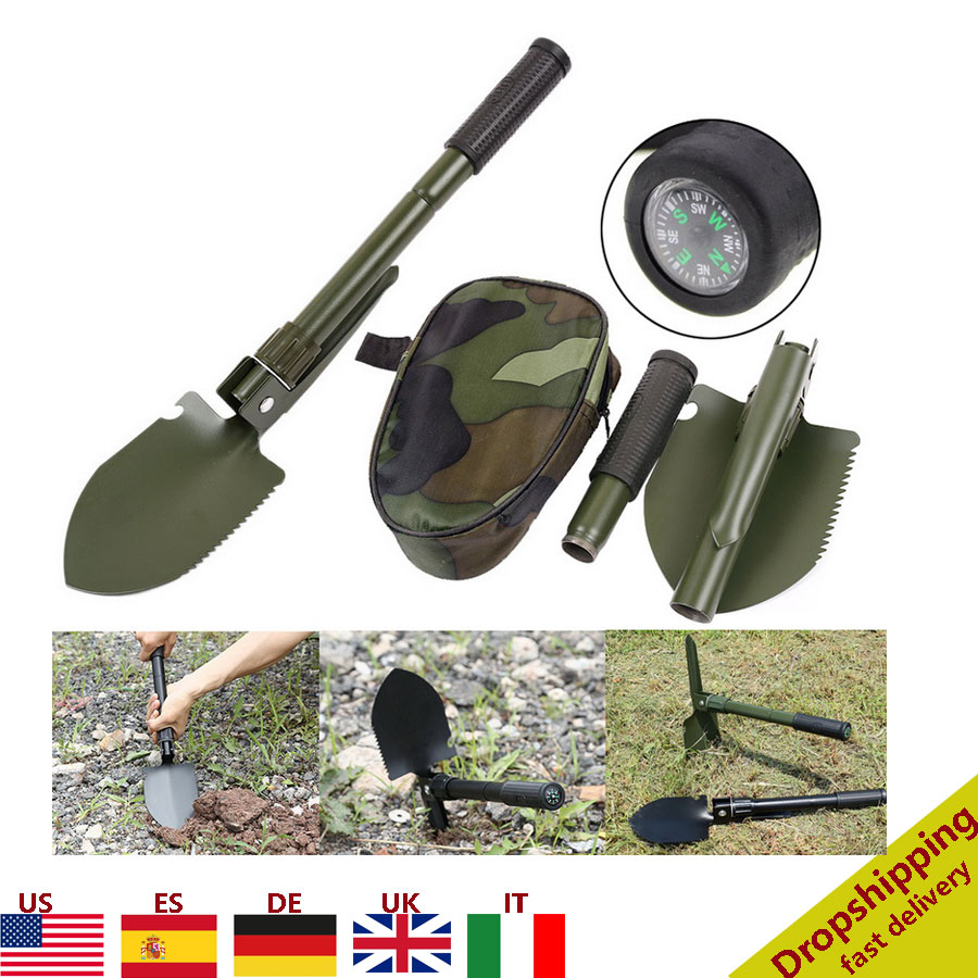 Big Deal Portable Folding Shovel with Compass Multifunction Stainless Steel Survival Spade Hiking Camping Outdoor Emergency Survive Tool 4001169944625
