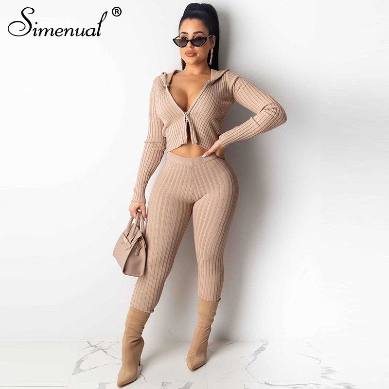 Simenual Ribbed Fashion Basic Two Piece Outfit Women Zipper Long Sleeve Autumn Matching Set Solid Slim Hooded Top And Pants Sets