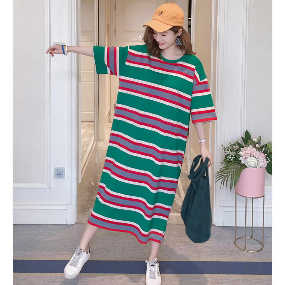 Summer new style Korean version of the loose long short sleeved T shirt dress Striped large size dress in Dresses from Women 39 s Clothing