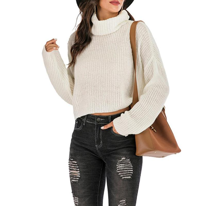 New 2020 Autumn Winter Women's Sweaters Minimalist Solid Color Long Sleeve Knitted Jumper Women Turtleneck Pullover Sweater