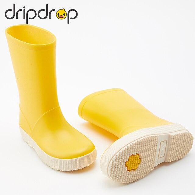 DRIPDROP طفل أحذية مطر للأطفال الفتيات الفتيان الكلاسيكية الأحذية المدرسية Rainсoat المطر ملابس ضد المطر طفل معطف واق من المطر