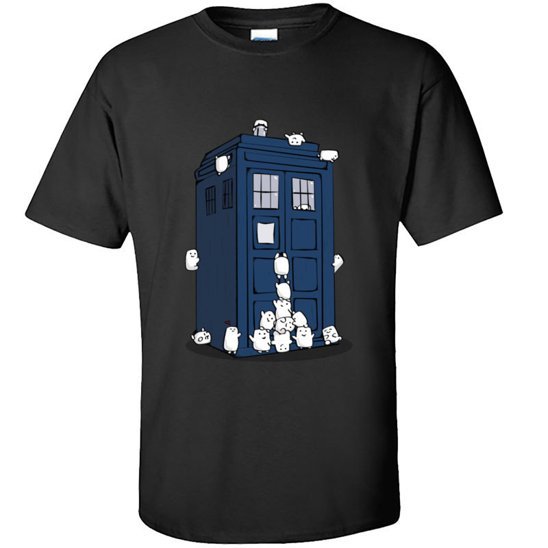 Funny Tops T Shirt Dr Who Tardis Doctor Who Kawaii Picture New European Tee Shirts Printing Loose Casual Tee-Shirt Slim Fit Men