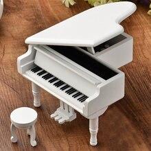 Piano de madera tipo caja de música, Mini Piano de juguete, regalos para el Día de San Valentín, caja de música clásica con taburete artesanal