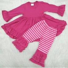 Crianças boutique roupa do bebê outfit listra topo pant conjunto roupas outono inverno remake outfit da criança conjunto de roupas da menina