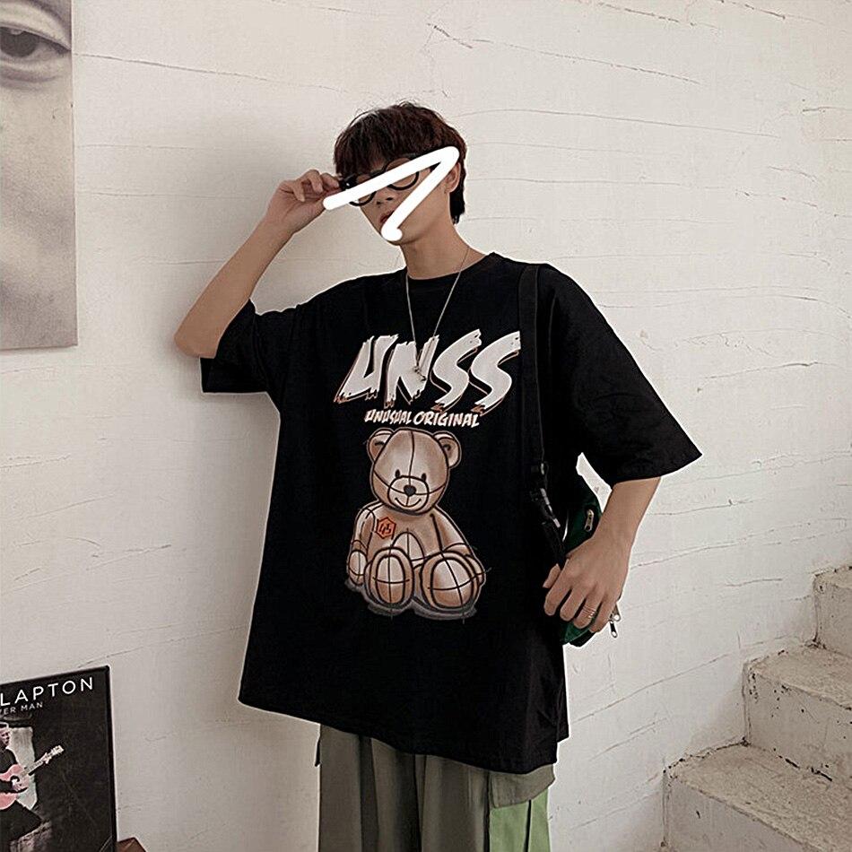 Корейская свободная футболка с коротким рукавом и принтом медведя
