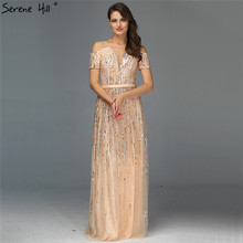 Gold Luxury Sexy V Neck Evening Dressese 2019 Short Sleeve Beading Sequined A Line Evening Gowns Serene Hill LA70151