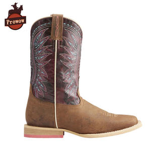 Western-Boots Girls Kids Prowow-Shoes Boys Genuine-Leather Children's Toe Suture Square