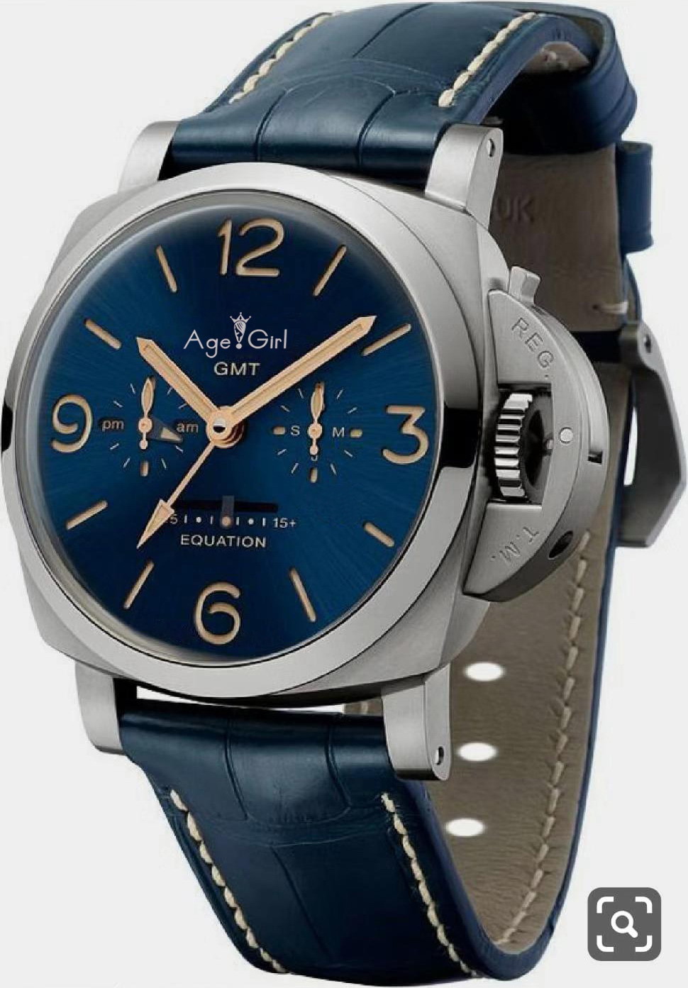 Luxury Brand New Men Automatic Mechanical Stainless Steel Blue Leather Silver Luminous Equation Watches Limited GMT AAA+ 44mm