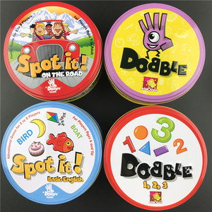 Dobble 16 styles Spot It Card Game Toy Iron Box Sport Go Camping Hip Kids Board Games Gift Animals Alphabet123