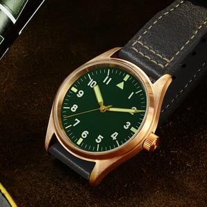 Image 3 - San Martin Men Bronze Mechanical Pilot Watches Luminous dial Scale 200m Waterproof Sapphire Glass Leather Strap Male Wrist watch
