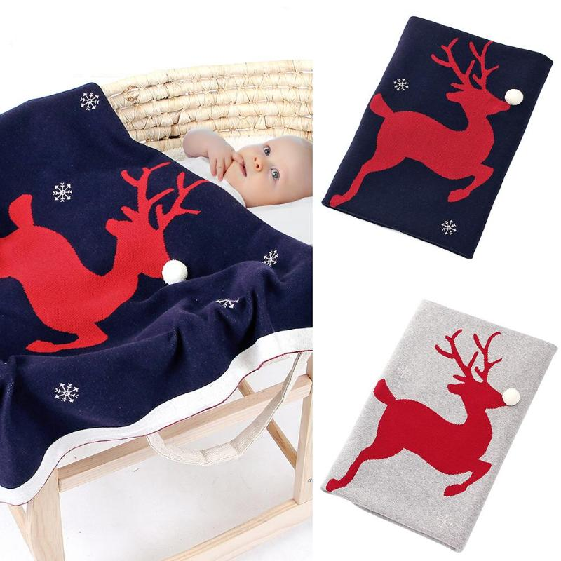 Christmas Elk Baby Blanket Warm Bedding Quilt Cotton Newborn Photography Infant Swaddle Wrap Sleeping Blanket Stroller Accessory