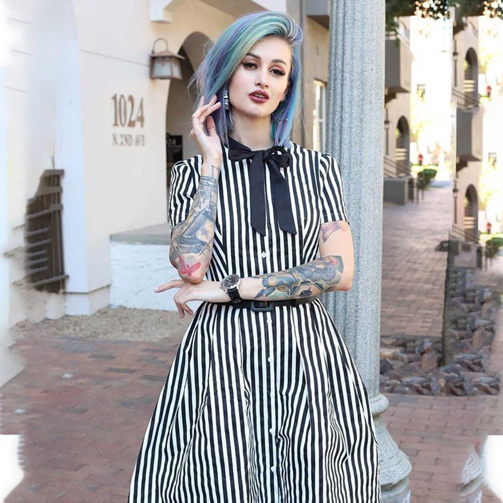 2020 Vintage Streifen Midi Kleid Frauen Sommer Fliege Kragen Kurzarm Elegante Büro Casual Stilvolle Goth Rockabilly Kleider