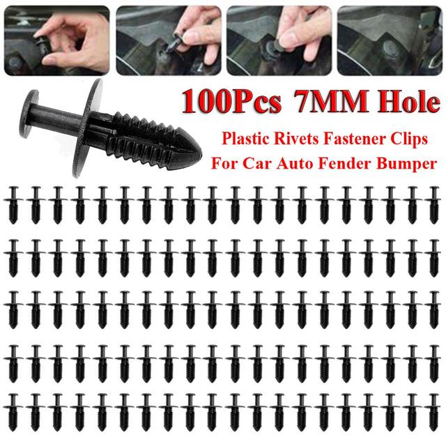 Clips de fixation pour pare-choc de voiture   Trou de 7mm Rivets en plastique, Clips de fixation noirs pour porte de voiture, Clips de fixation pour pare-choc de voiture 100 pièces