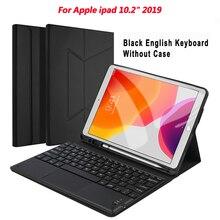 Tastatur Für iPad 10,2 2019 Touch Deutsch/Englisch/Französisch/Russisch/Spanisch Drahtlose Bluetooth Tastatur mit Leder schutzhülle