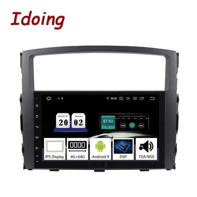 "Idoing 9"" 2 din Car PX5 4G+64G Octa Core Android 9.0 Radio Multimedia Video Player For Mitsubishi Pajero 4 V80 V90 V97 2din"