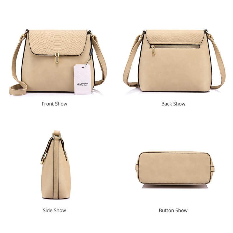 Lovevook marca crossbody sacos para as mulheres pequena bolsa de ombro fêmea sólido ferrolho bolsa preto/damasco/azul mensageiro saco 2018
