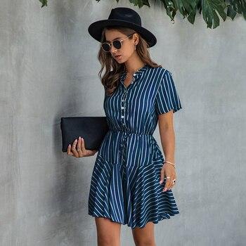 цена на Summer Striped Dress Women Casual Single Breasted Mini Dress Female Serpentine Plaid Print Short Sleeve Dress 2020 New
