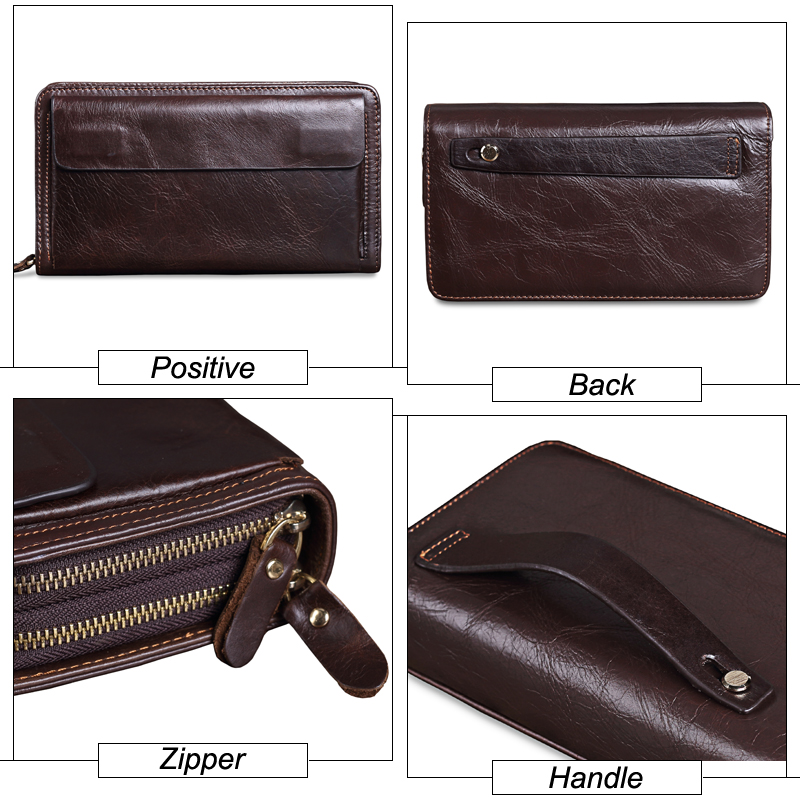 Cowhide Men Clutch Wallets Genuine Leather Long Purses Business Large Capacity Wallet Double Zipper Phone Bag For Male in Wallets from Luggage Bags