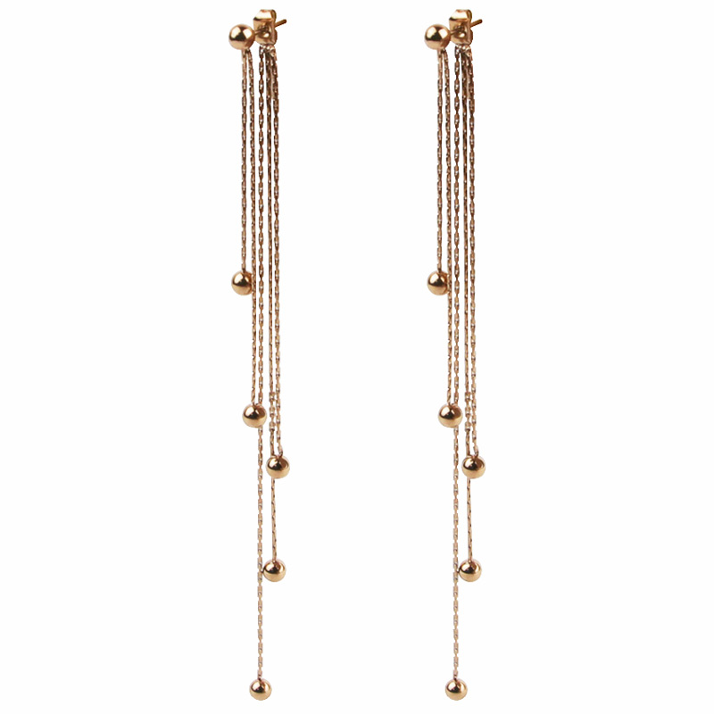 Wholesale Fashion Festival Chain Steel Ball Rose Ggold Tassel Earrings Long Beads Earrings Women Jewelry Free To Send Wholesale