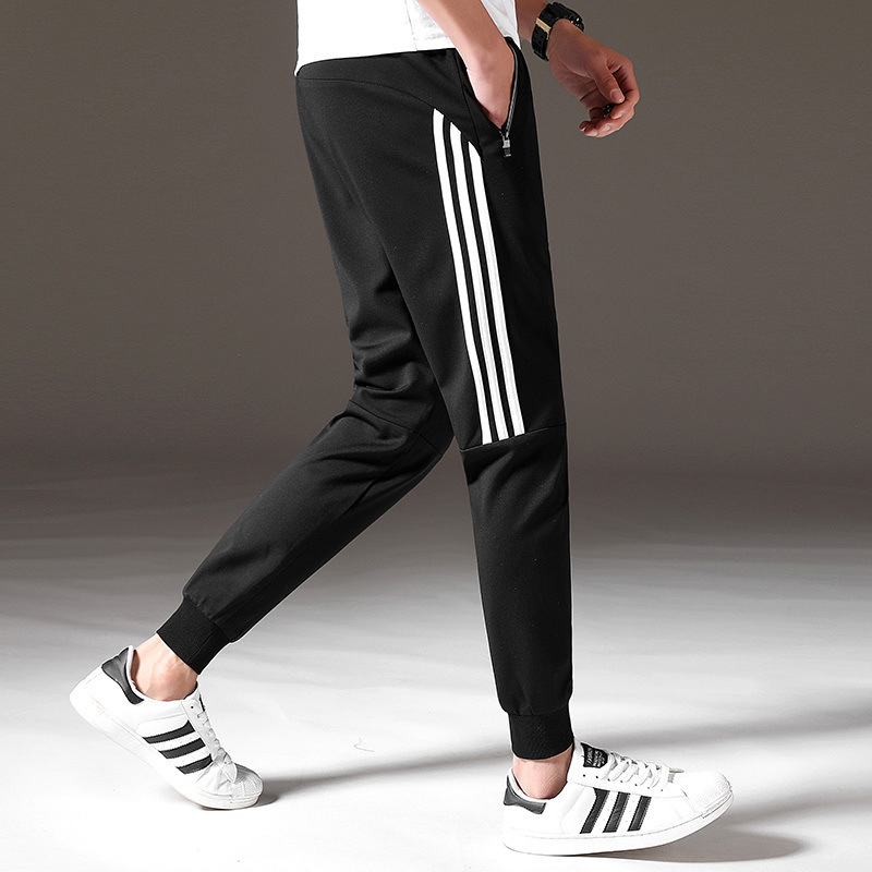 Military Training Students Textured Men'S Wear Three Bars Athletic Pants Men's Thin Pure Cotton Loose-Fit Skinny Casual Pants Ho