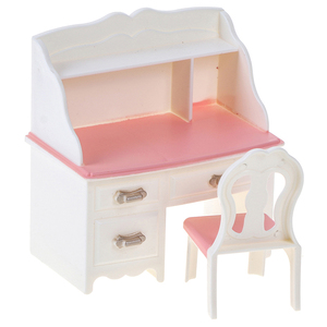 1set 1:12 Dollhouse Miniature Dressing Table Model Desk Chair Furniture for Bedroom Dolls Make-up Toys