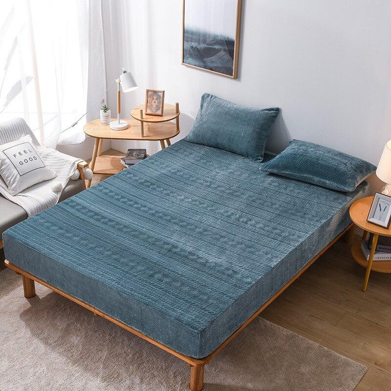 Couvre-lit en drap-housse de couleur unie en velours de cristal couvre-matelas monobloc Article de literie fabrication en gros