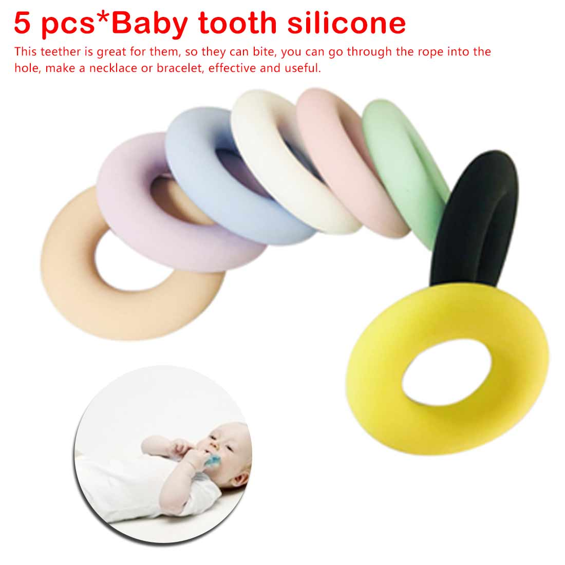 5pcs Donut  Silicone Beads Pendant Teether Necklace Teething Chewing Cute Baby Toy Chewable Jewelry Pacifier Clip Holder