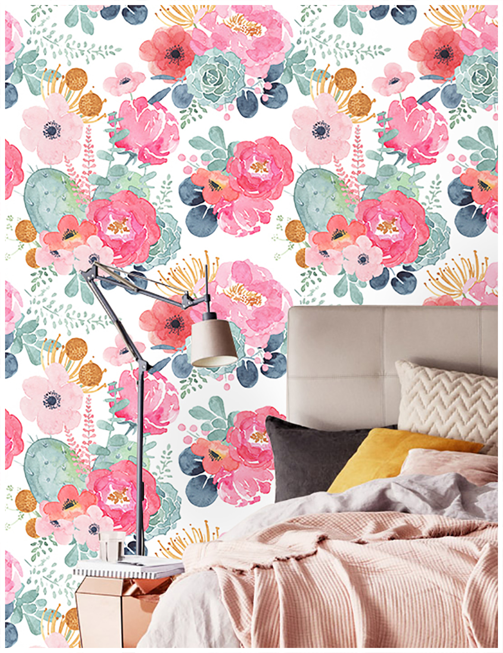 HaokHome Peel And Stick Floral Wallpaper Pink/Green/Whtie Vinyl Self Adhesive Decorative For Bedroom Girls Room