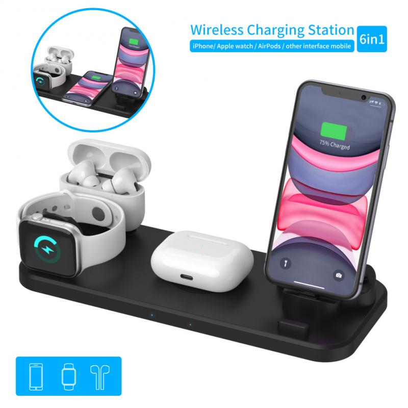 <font><b>6</b></font> In 1 10W <font><b>Qi</b></font> Wireless Charger Stand For <font><b>IPhone</b></font> 11 Pro XS Max XR Fast Charging Dock Station For Apple Watch 2 3 4 5 AirPods Pro image