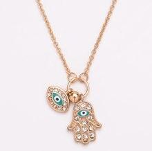 Модная женская рука Фатима турецкий синий глаз ожерелье очаровательные ювелирные изделия подарок кулон ожерелье