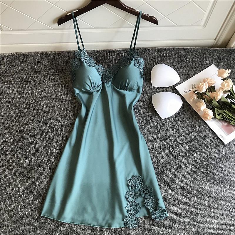 2019 Women   Nightgowns     Sleepshirts   Silk Nightshirts Sleepwear Satin Spaghetti Strap Nightdress Lace Nightwear