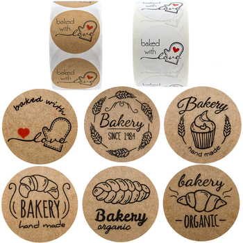 hand made Baked with Love Sticker Handmade home bakery Labels for Food Bread Cake Package Decor - discount item  24% OFF Stationery Sticker