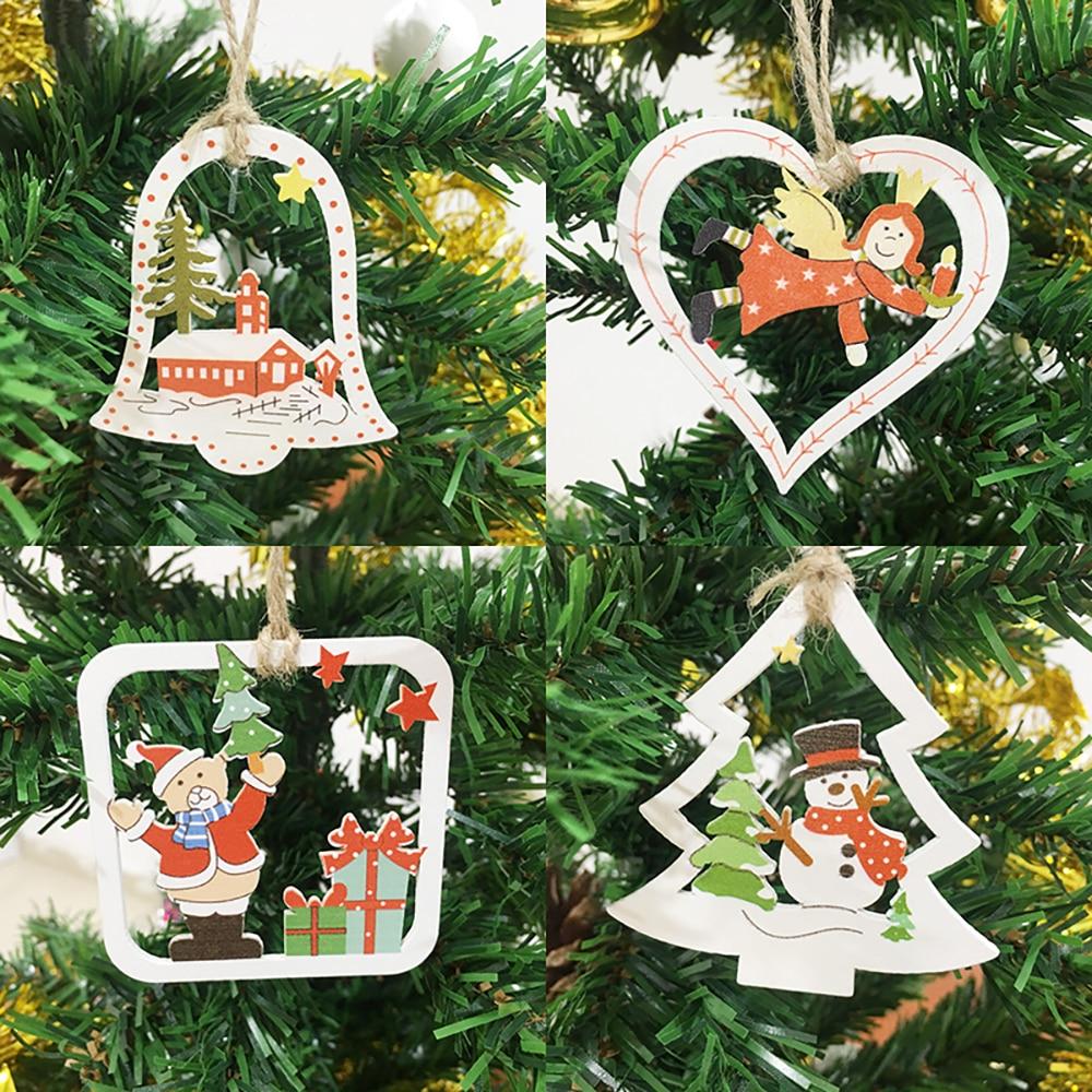 DIY Santa Claus Xmas Hanging Wooden Ornaments  Christmas Tree Decoration