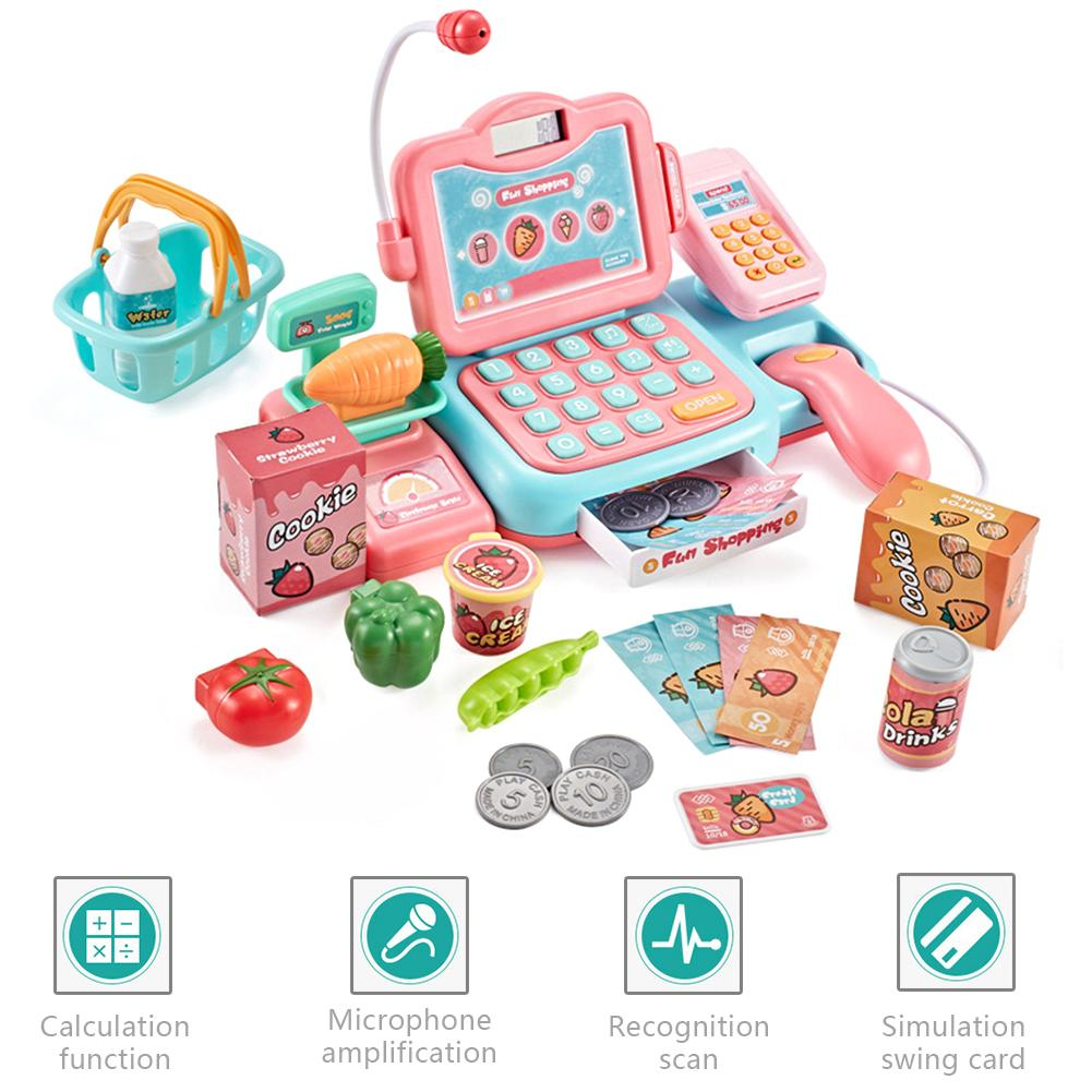 Baby Supermarket Cash Register Educational Toys Set Simulation Checkout Counter Swipe Scan Child Play House Educational Toys