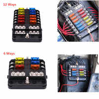 ZXMT 12V 32V Plastic Cover Fuse Box Holder M5 Stud With LED Indicator Light 6 Ways 12 Ways Blade for Auto Car Boat Marine Trike