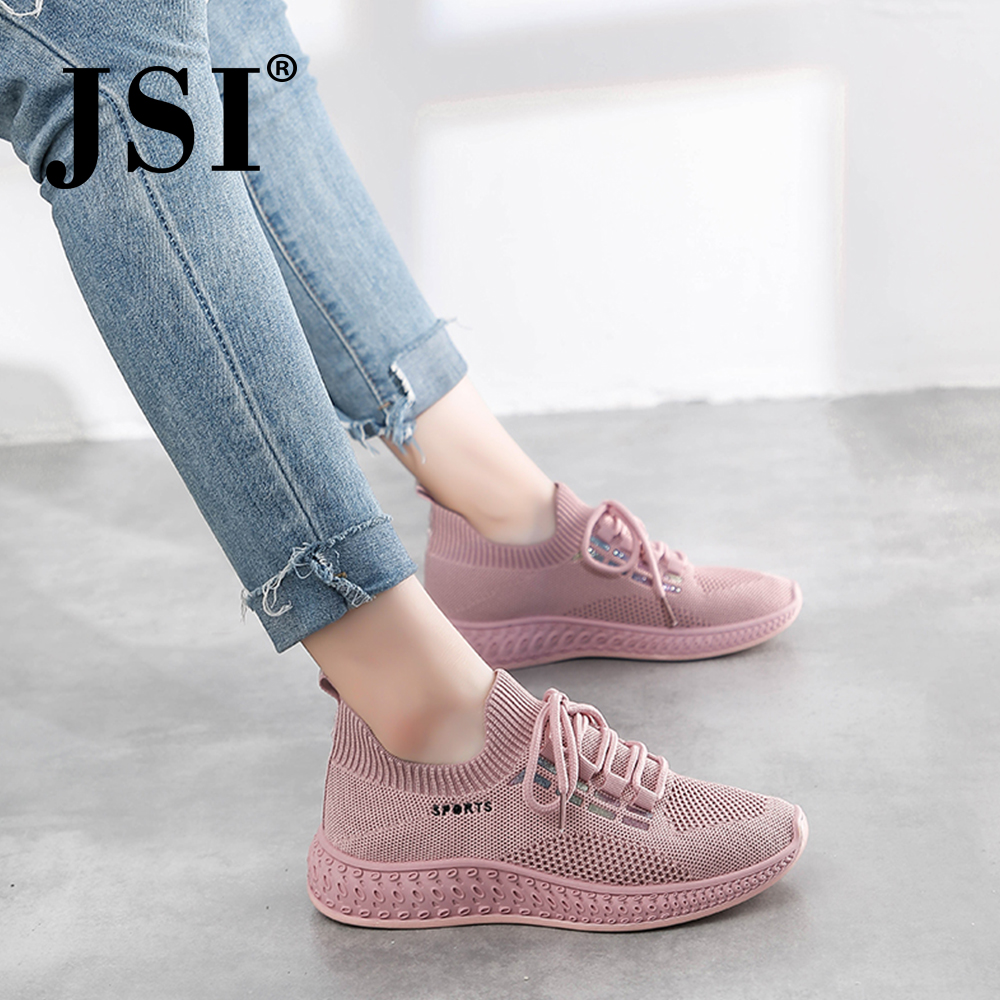 JSI Women's Outdoor Sneakers Round Head Lace Up Pure Color Mesh Flat Casual Shoes Fashion Comfortable Breathable Sneakers JY17
