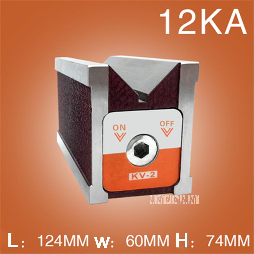KV-2 Magnetic Base V-shaped Magnetic Seat Magnetic Block Precision Switch Type Table Magnetic V Block Strong Magnet Fixer 12KA