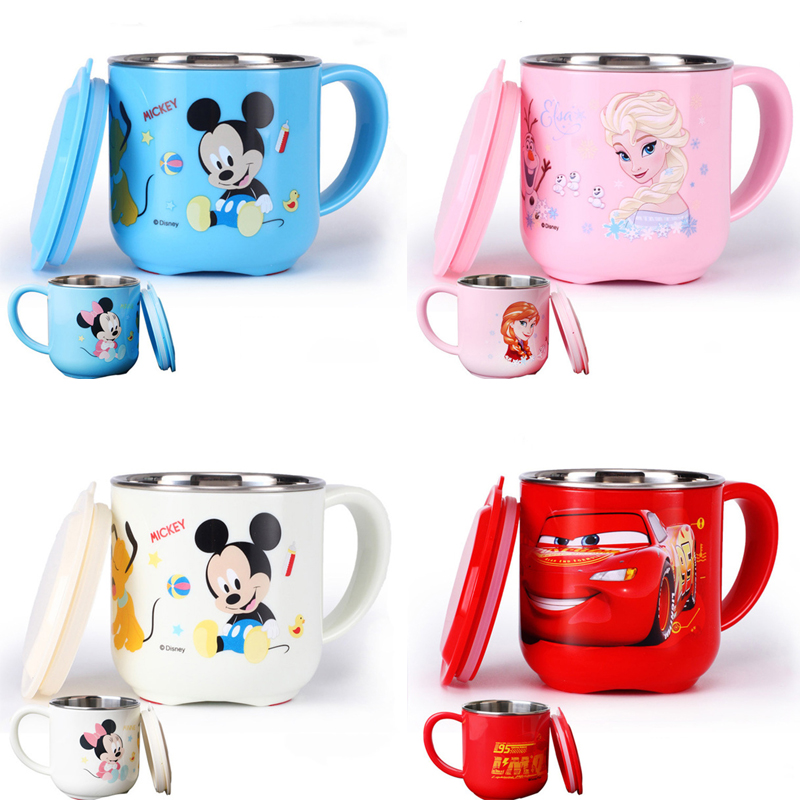 Disney 250ML Baby Kids Milk Cup Cartoon Creative Drink Water Cups Baby Training Learn Drinkware Juice Cup Stainless Steel Mugs