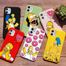Homer J Simpson śmieszne Bart Simpson Coque Cartoon etui na telefony dla iPhone 11 PRO MAX 6s 8 7 Plus XR X XS Max TPU silikonowe czerwone etui(China)